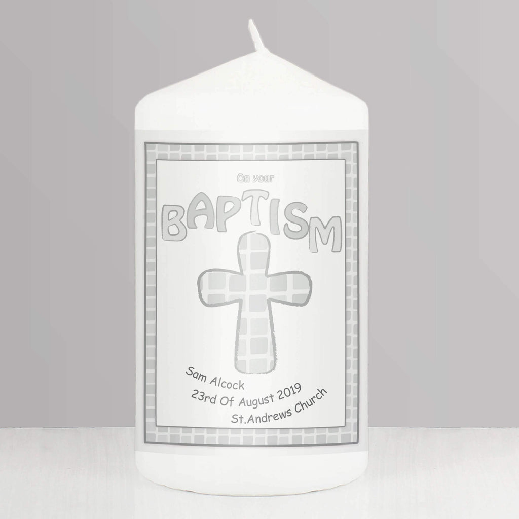 Personalised Grey Baptism Candle