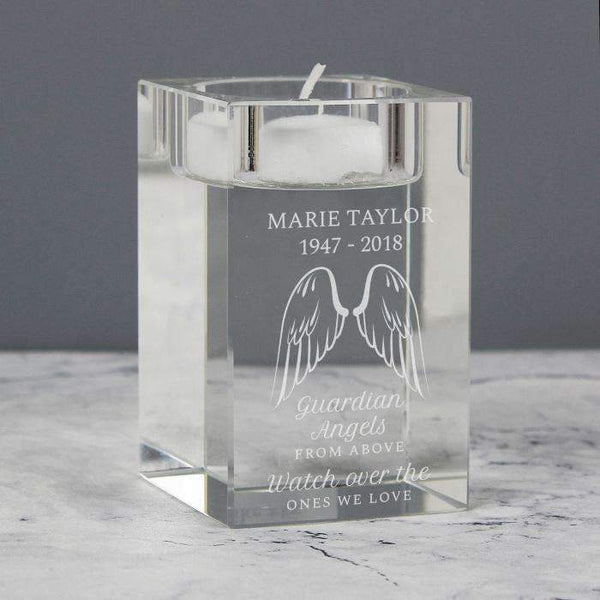 Personalised Guardian Angel Wings Glass Tea Light Holder