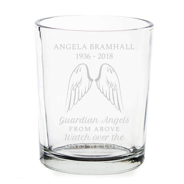Personalised Guardian Angel Wings Votive Candle Holder Memento