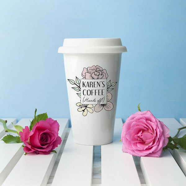 Personalised Hands Off Ceramic Travel Mug
