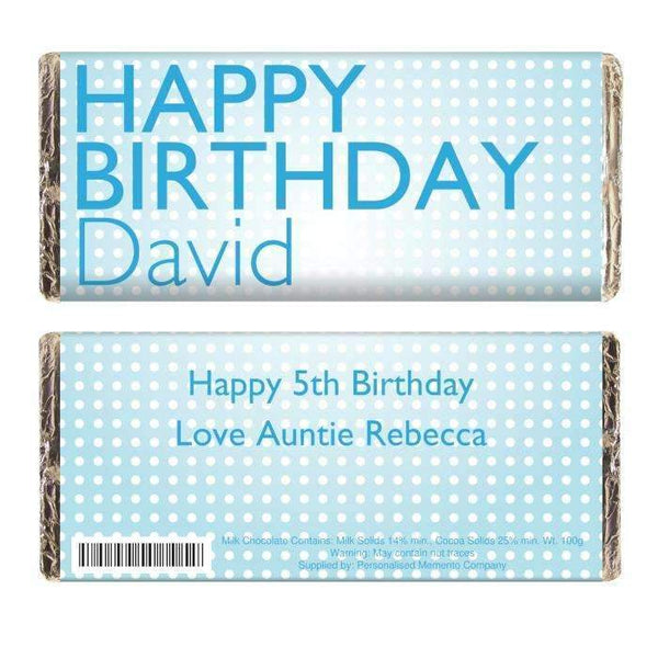 Personalised Happy Birthday Blue Dots Milk Chocolate Bar
