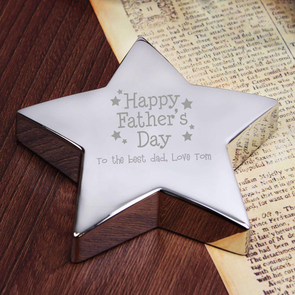 Personalised Happy Fathers Day Stars Star Paperweight