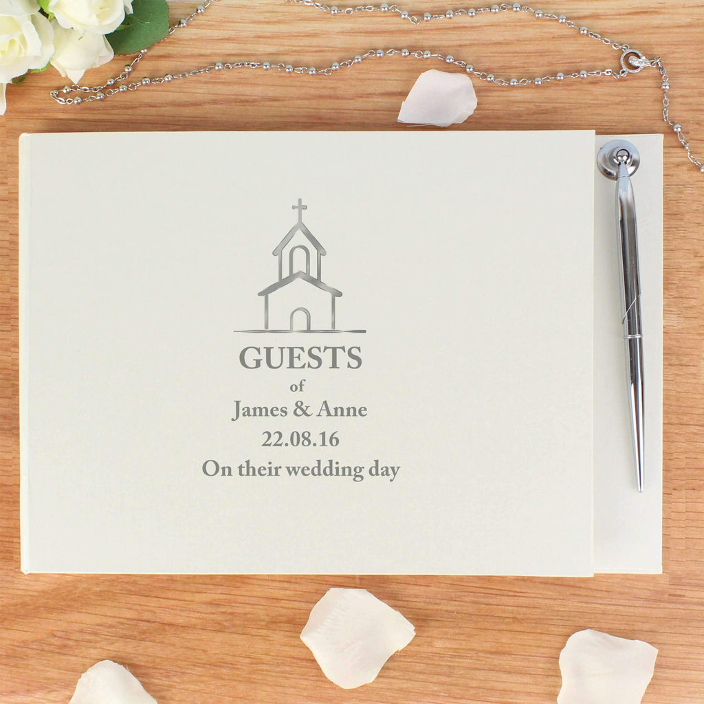Personalised Hardback Guest Book & Pen Church Design Memento