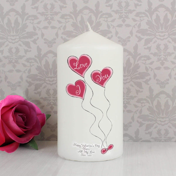 Personalised Heart Balloons Candle