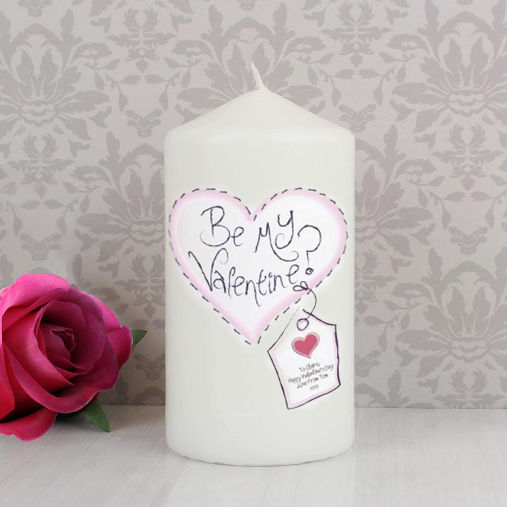 Personalised Heart Be My Valentine Candle Memento