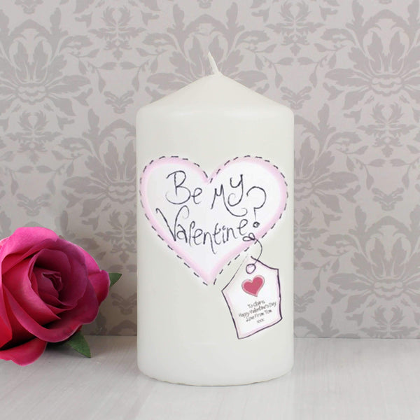 Personalised Heart Be My Valentine Candle