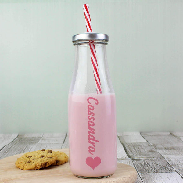 Personalised Heart Motif Milk Bottle