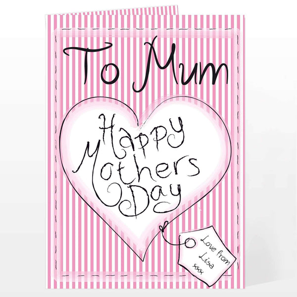 Personalised Heart Stitch Happy Mothers Day Card