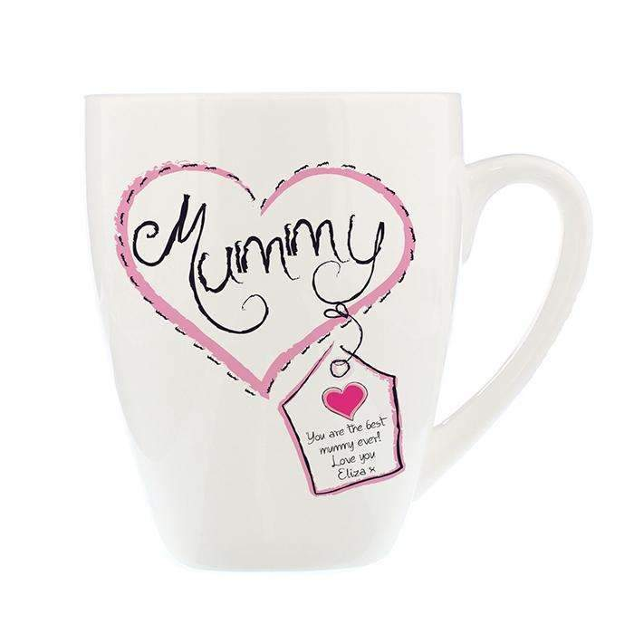 Personalised Heart Stitch Mummy Latte Mug