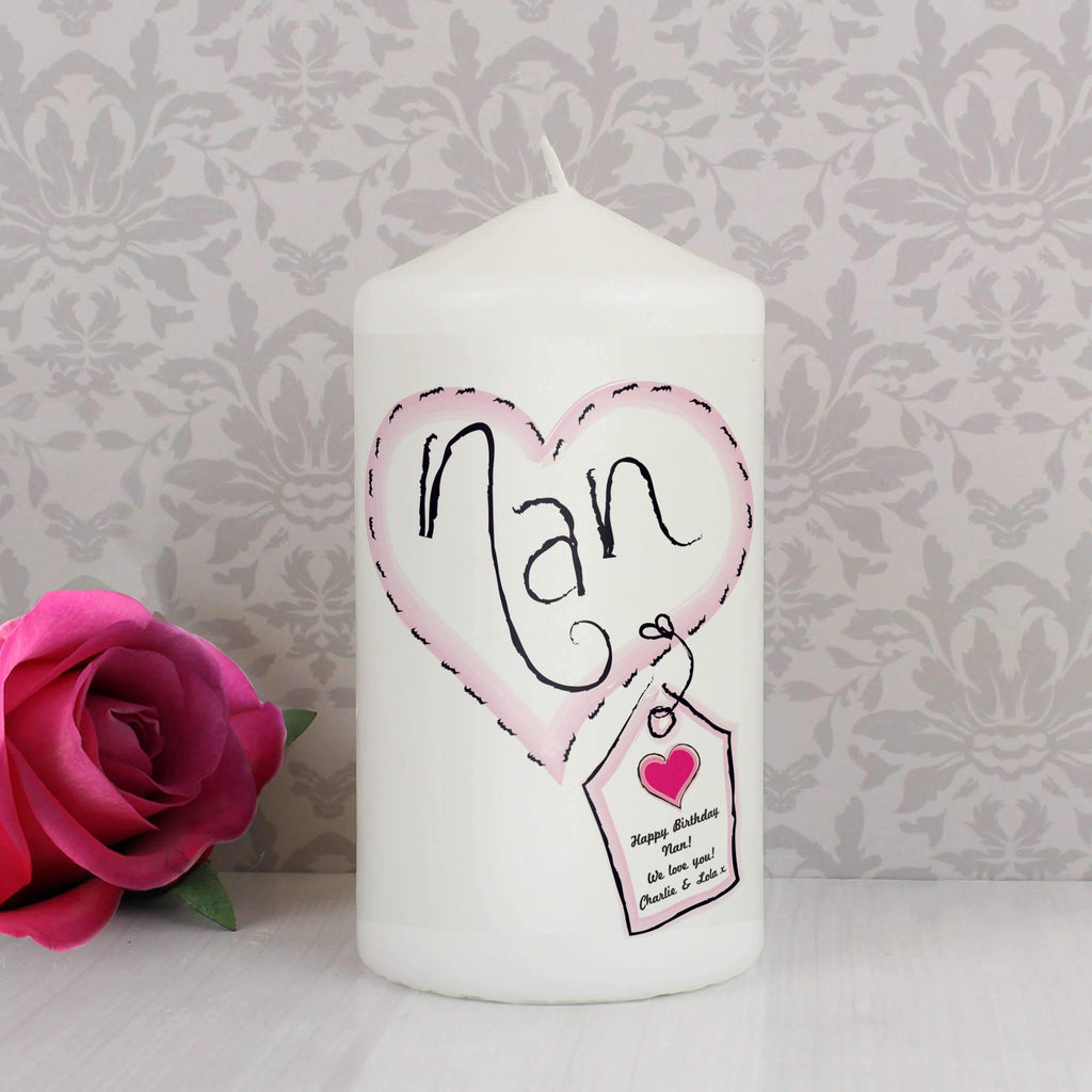 Personalised Heart Stitch Nan Candle Memento