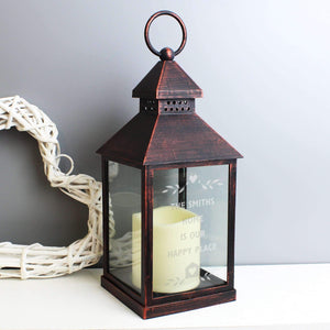 Personalised Hearts and Home Rustic Black Lantern