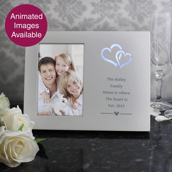 Personalised Hearts Any Message 4x6 Light Up Frame