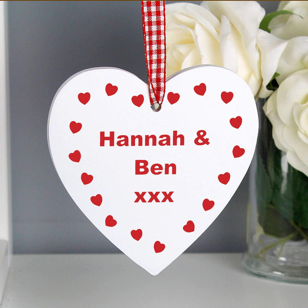 Personalised Hearts Design Wooden Heart Shaped Decoration