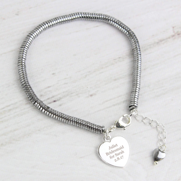 Personalised Hematite 'Any Message' Heart Bracelet