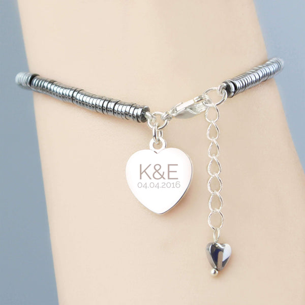 Personalised Hematite Initials and Date Heart Bracelet
