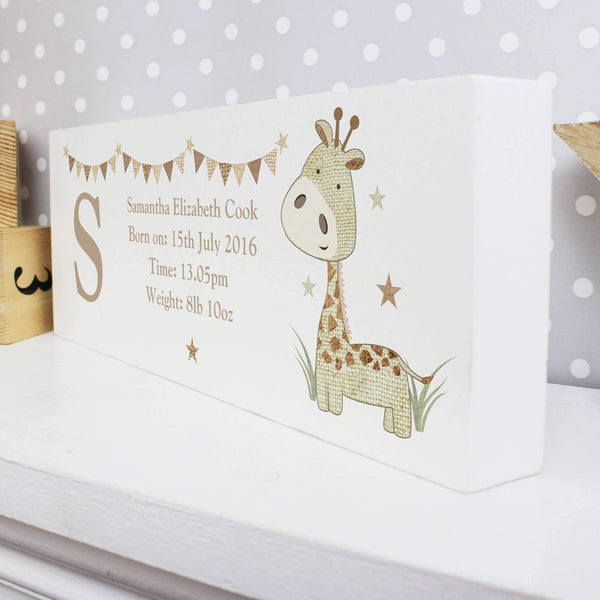 Personalised Hessian Giraffe Wooden Block Sign