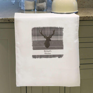 Personalised Highland Stag White Tea Towel