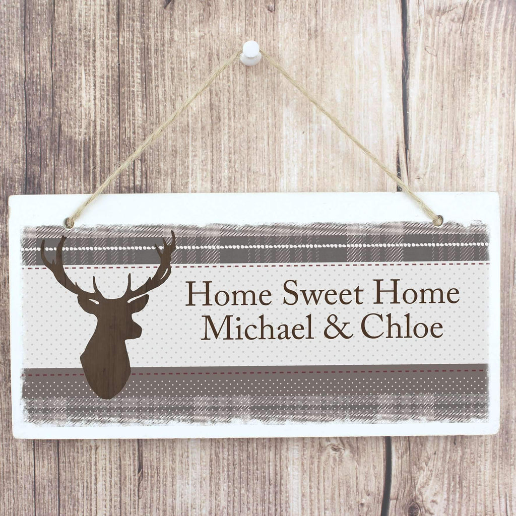 Personalised Highland Stag Wooden Sign Memento