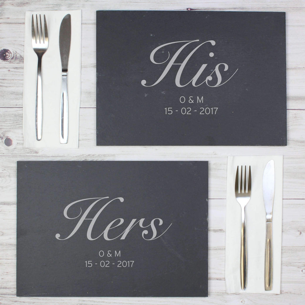 Personalised His and Hers Slate Placemat Set Memento