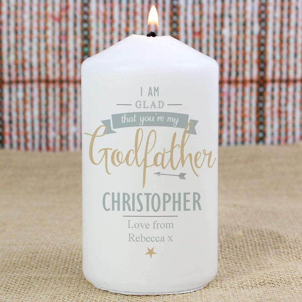 Personalised I Am Glad... Godfather Candle