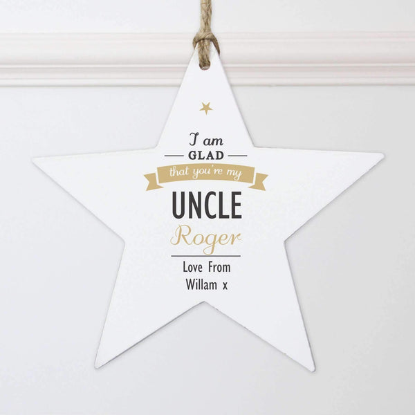 Personalised I Am Glad... Wooden Star Decoration