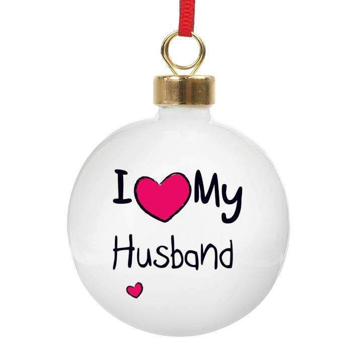 Personalised I Heart Bauble Memento