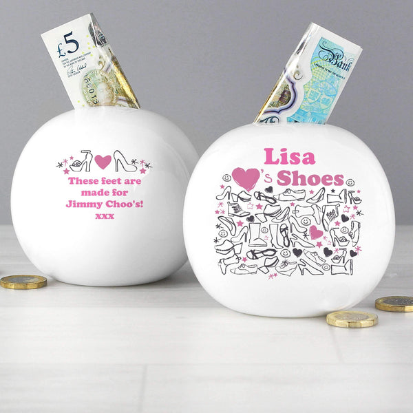 Personalised I Love Shoes Money Box