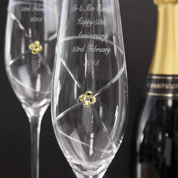 Personalised Infinity Pair of Flutes with Gold Swarovski Elements with Gift Box
