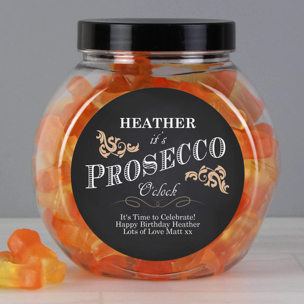 Personalised 'It's Prosecco O'Clock' Prosecco Gummies Jar