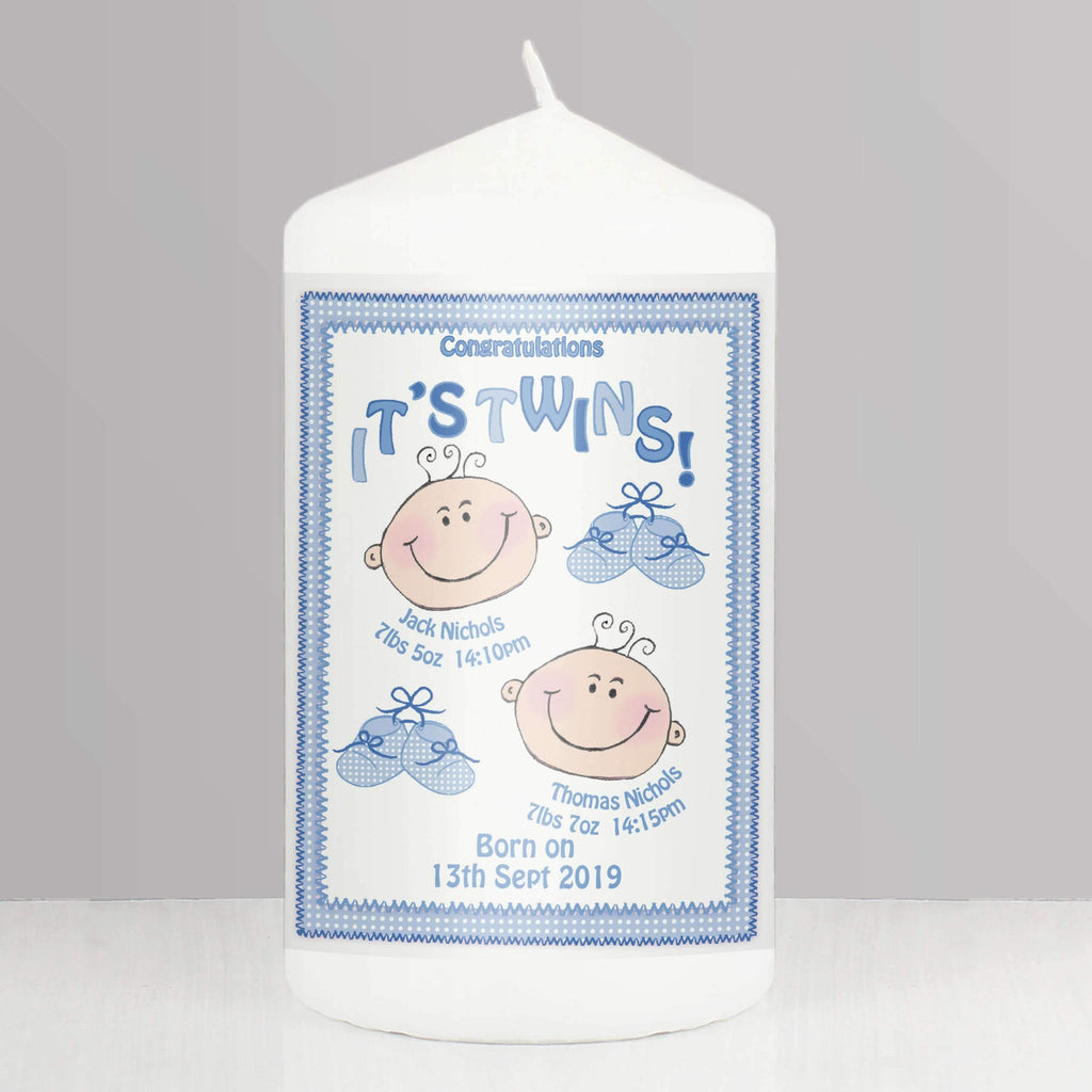 Personalised It's Twins Candle blue Memento