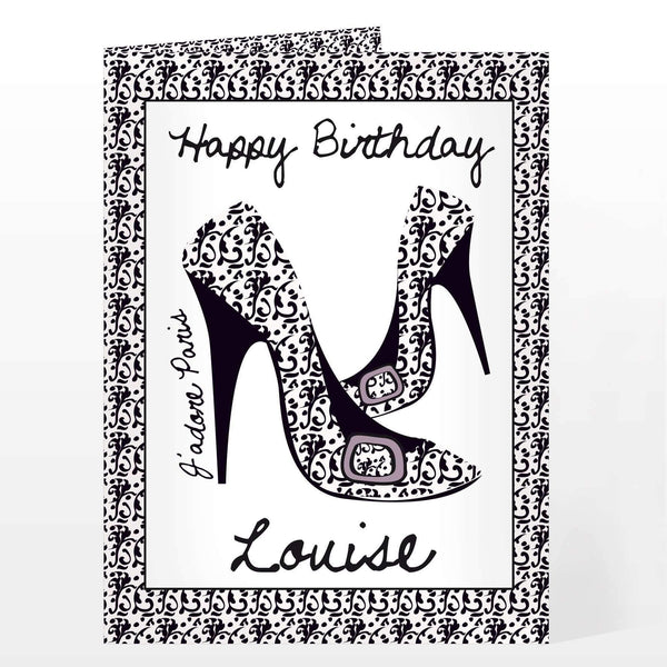 Personalised J'adore Shoe Card