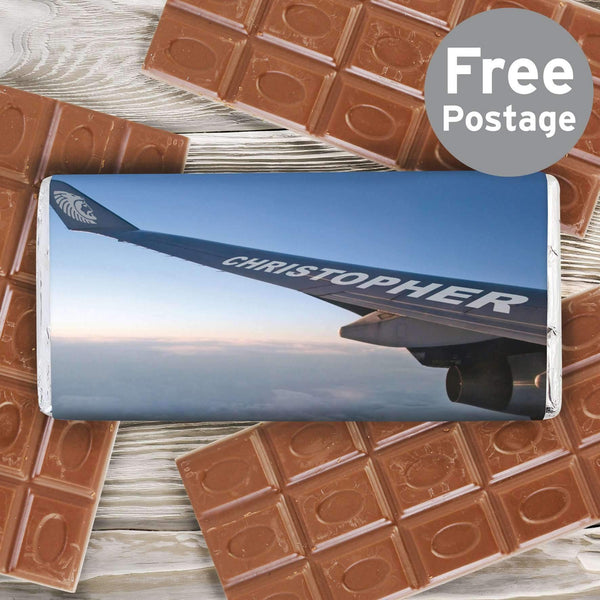 Personalised Jet Wing Milk Chocolate Bar