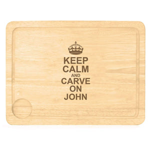 Personalised Keep Calm & Carve On Carving Board