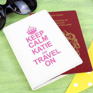 Personalised Keep Calm Cream Passport Holder