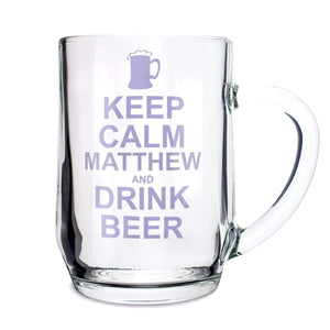 Personalised Keep Calm Drink Beer Tankard