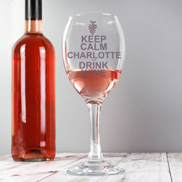 Personalised Keep Calm Drink Wine Glass