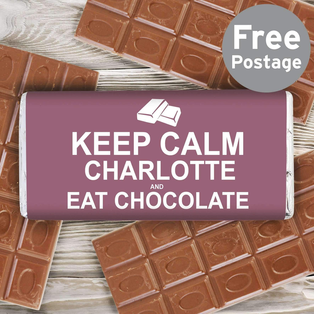 Personalised Keep Calm Eat Chocolate Milk Chocolate Bar