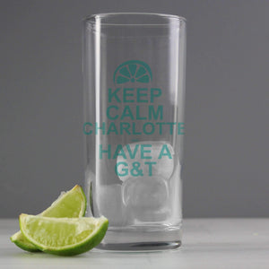 Personalised Keep Calm G&T Glass