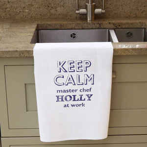 Personalised Keep Calm White Tea Towel