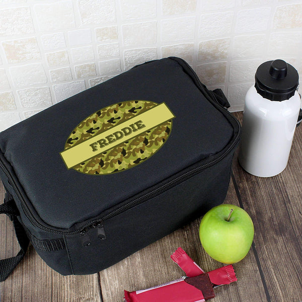 Personalised Khaki Camo Black Lunch Bag