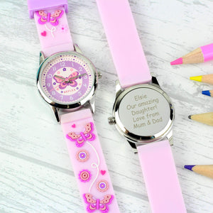 ce6fc8d92 Personalised Kids Pink Time Teacher Butterfly Watch with Presentation Box