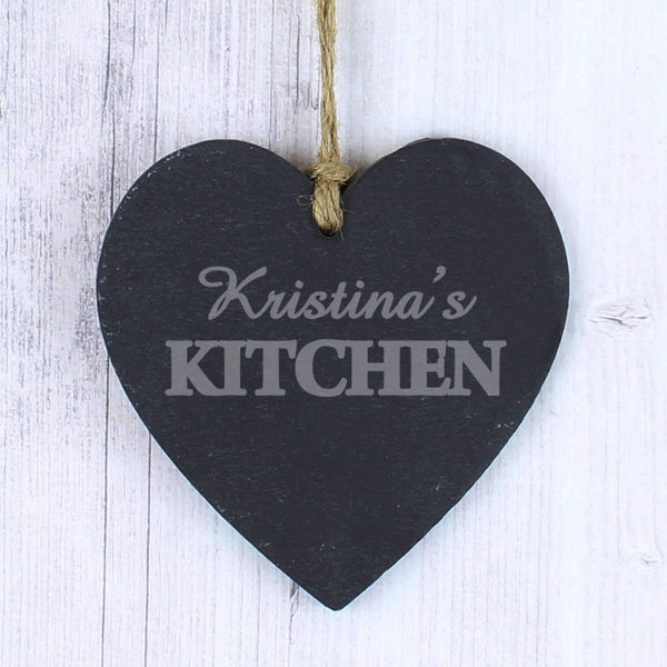 Personalised Kitchen Slate Heart