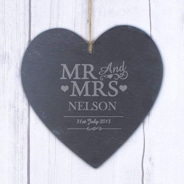Personalised Large Mr & Mrs Slate Heart