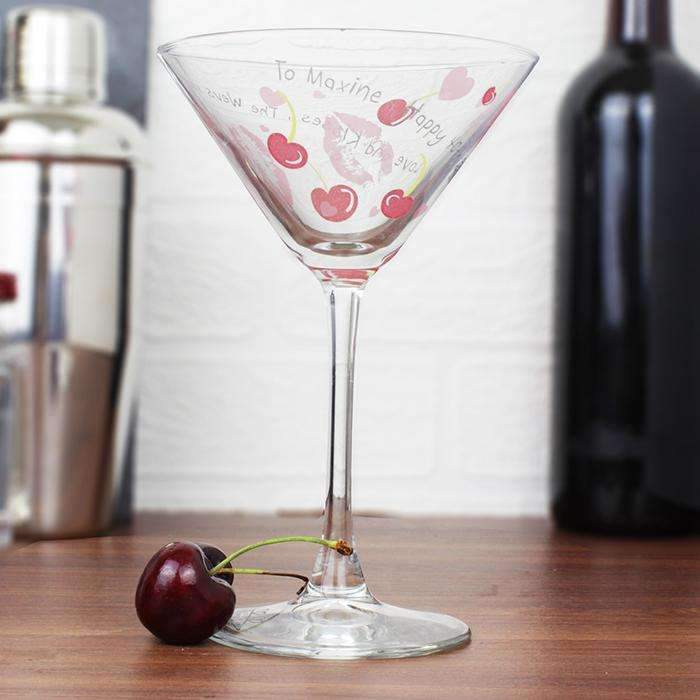 Personalised Lips & Cherry Cocktail Glass Memento