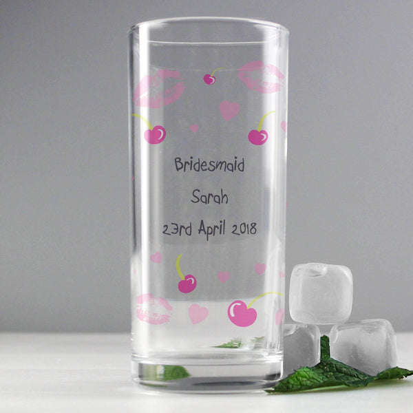 Personalised Lips & Cherry Hi Ball Glass
