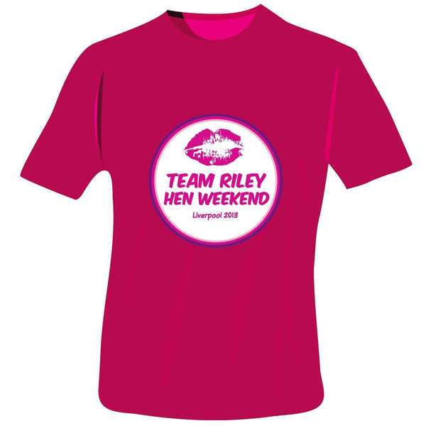 Personalised Lips Hen Do T-Shirt - Fuchsia Pink - Small