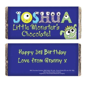 Personalised Little Monsters Milk Chocolate Bar