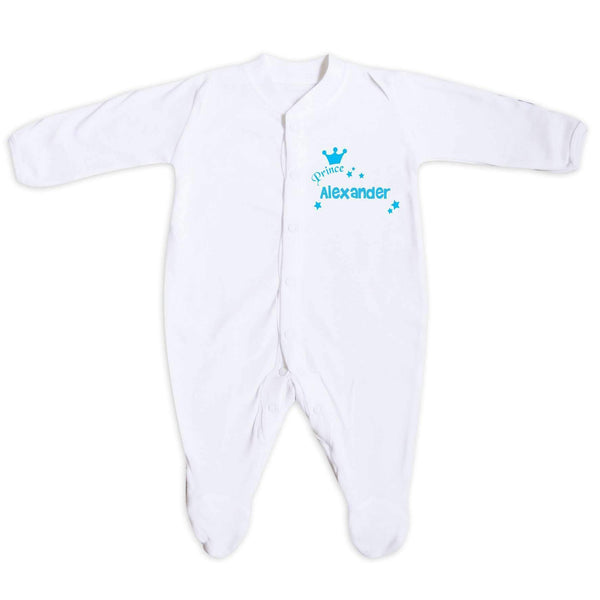 Personalised Little Prince Blue 6-9 Months Babygrow
