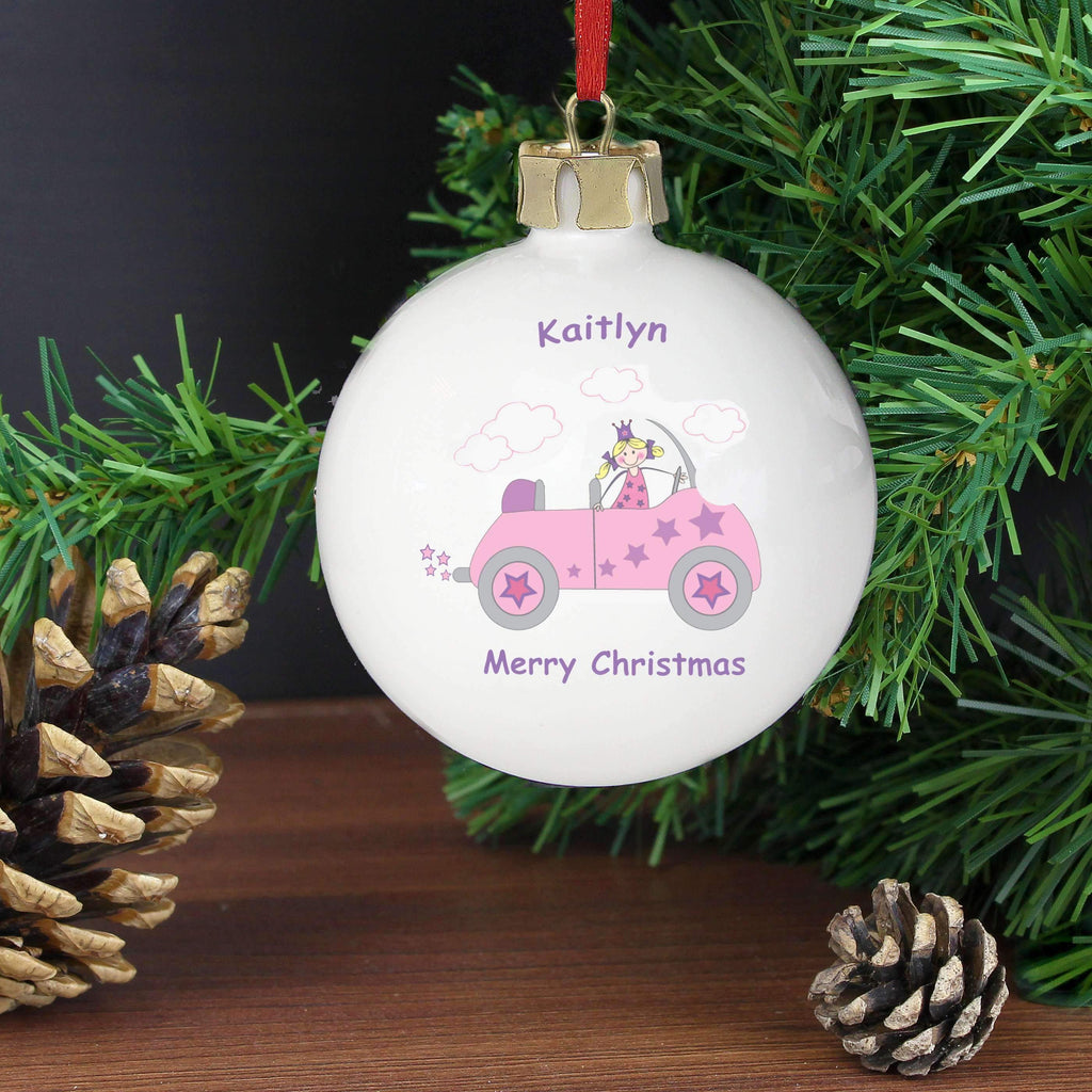 Personalised Little Princess in Car Bauble