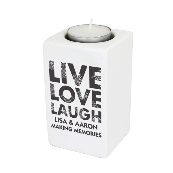 Personalised Live Love Laugh Ceramic Tea Light Candle Holder